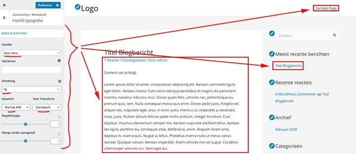Font (lettertype) aanpassen van je WordPress blog