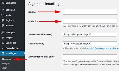 Wordpress instellingen - Sitetitel en tagline