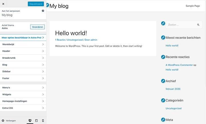 WordPress layout aanpassen