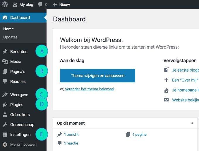 Wordpress leren kennen - het Dashboard