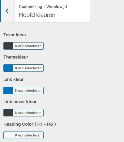 Stel blog kleuren in WordPress
