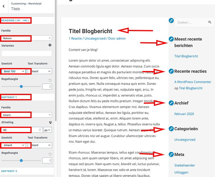 Titel fonts (lettertype) aanpassen in WordPress