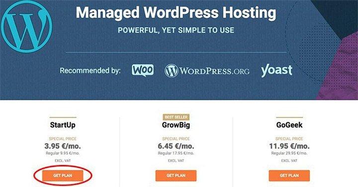 Kies WordPress hosting plan
