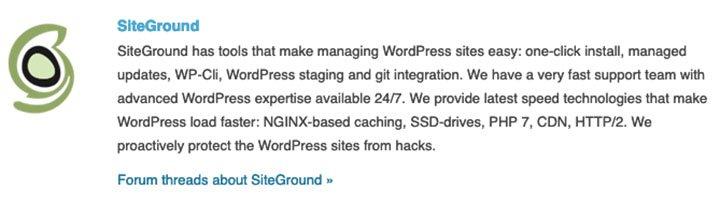 Siteground hosting aangeraden door WordPress