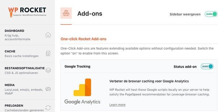 WP Rocket Google Analytics lokaal laden