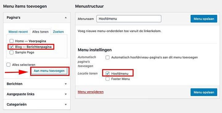 Wordpress menu items toevoegen