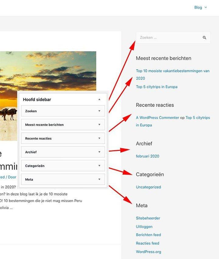Sidebar Widgets aanpassen in WordPress